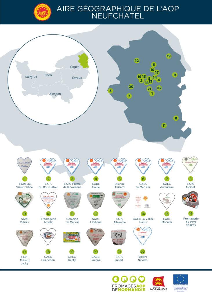 Carte de la zone d'appellation Neufchâtel